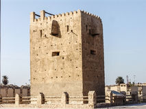 Historical tower in dubai heritage village Royalty Free Stock Photo
