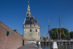 Historical tower Hoofdtoren in the harbor of Hoorn Stock Photography