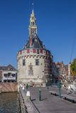 Historical tower and jetty in the center of Hoorn Stock Photos