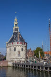 Historical tower and jetty in the center of Hoorn Royalty Free Stock Photo