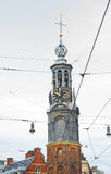Historical tower Munttoren of Amsterdam close up Royalty Free Stock Images