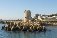Free Historical Tower On The Beach, Saints Constantine And Helena Resort, Bulgaria Royalty Free Stock Image - 199879676