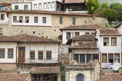 Historical town Berat, Mangalem district, ottoman architecture in Albania. royalty free stock photos