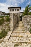 Historical town Berat, ottoman architecture in Albania, Unesco World Heritage Site. Berat, Albania- 30 June 2014: Narrow, cobbled streets in the historical town stock images