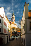 Historical town with catle. Castle and old street in historical town Cesky Krumlov, Czech Republic stock images
