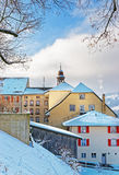 Historical town Gruyeres in winter Stock Photos