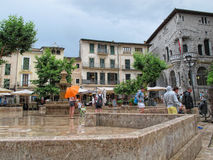 Historical town part of Soller (Mallorca, Spain). SOLLER, MALLORCA/ SPAIN June 16 2015: People visiting the historical town part of Soller (Mallorca, Spain) with Royalty Free Stock Image