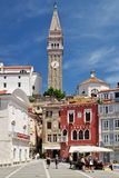 Historical town Piran on Slovenian adriatic coast. Tartini square in old town Stock Photo