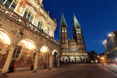 Historical townhall with cathedral at dusk in Bremen, Germany Royalty Free Stock Photography