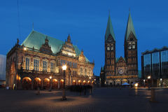 Historical townhall with cathedral at dusk in Bremen, Germany Stock Images