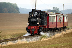 Historical train. With steam locomotive traveling from Amstetten to Oppingen (Baden-Wuerttemberg, South Germany Royalty Free Stock Photos