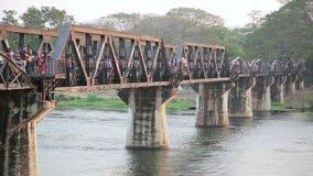 Historical train at bridge over kwai river death railway stock video