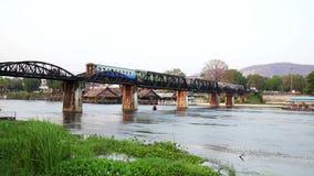 Historical train at bridge over kwai river death railway stock video footage