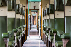 Historical train carriage inside view. In the Netherlands royalty free stock image
