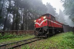 Historical Train on Railroad in Alishan National Scenic Area in Foggy Weather
