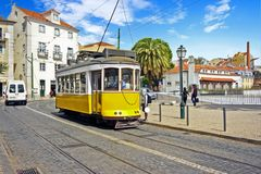 Historical tram driving in Lisbon Portugal Royalty Free Stock Photo