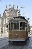 Historical tram in front of Carmo church Stock Image