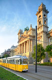 Historical tram passes Museum of Ethnography in Budapest Stock Photos