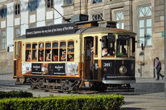 Historical tram in Porto City Stock Photos