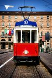 Historical tramway in turin italy. Vintage looking photo of the historical tramway line number ten from Crocetta to Regio Parco street stops in Piazza Castello Royalty Free Stock Photos