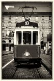 Historical tramway in turin italy. Vintage looking photo of the historical tramway line number ten from Crocetta to Regio Parco street stops in Piazza Castello Stock Photography