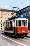 Historical tramway in turin italy. Vintage looking photo of the historical tramway line number ten from Crocetta to Regio Parco street stops in Piazza Castello Royalty Free Stock Photography