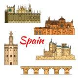 Historical travel landmarks of Spain linear symbol Royalty Free Stock Photo