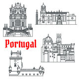 Historical travel sights of Portugal linear icon Stock Photo