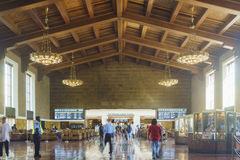 The historical union station. Los Angeles, APR 11: Interior view of the historical union station on APR 11, 2017 at Los Angeles Stock Photos