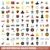 100 historical value icons set, flat style. 100 historical value icons set in flat style for any design vector illustration Stock Photography