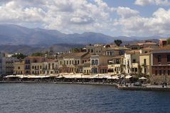 Historical venetian harbor. In Chania, Crete, Greece. Sea and mountains, sunny day royalty free stock photo