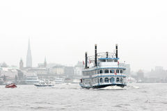 Historical vessel floating on Hamburg river Royalty Free Stock Image