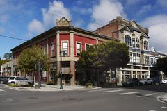 Historical Victorian Buildings, Port Townsend, Washington, USA. Downtown  - James-Hastings, historical Victorian buildings, street view - Port Townsend, a city Stock Photo