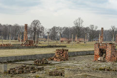Historical view of Auschwitz death camp in color Royalty Free Stock Images