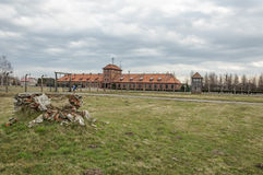 Historical view of Auschwitz death camp in color Stock Photo