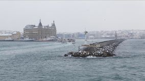 Historical view of the Haydarpasa area from the sea stock photos
