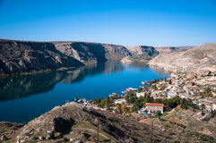 Historical village and castle at birecik dam of halfeti Royalty Free Stock Photo