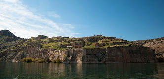 Historical village and castle at birecik dam of halfeti Royalty Free Stock Photography