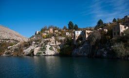 Historical village and castle at birecik dam of halfeti Stock Photography