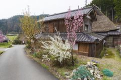 Historical village Miyama in Kyoto, Japan. Rural landscape of Historical village Miyama in Kyoto, Japan royalty free stock photo