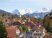 Historical village in swiss alps Stock Image