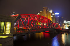 Historical vintage iron bridge at Shanghai bund Stock Photos