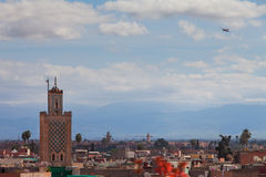Historical walled city of Marrakesh. With ariplane stock images