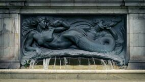 Historical Water Fountain With Mermaid. Old water fountain with mermaid figure stock video