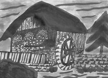 Historical Watermill - Hand Drawn Ink Drawing. An historical watermill. It is an hand drawn ink drawing. In the back ground you see a sunset, on the right hand Stock Photo