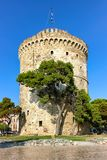 Historical White Tower of Thessaloniki in Greece stock photography