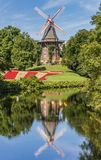 Historical windmill with reflection in the water in Bremen Royalty Free Stock Photos