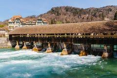 Historical Wood bridge in Thun, switzerland stock images