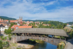 The historical wooden bridge in Forbach Royalty Free Stock Photography