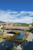 The historical wooden bridge in Forbach Stock Photo